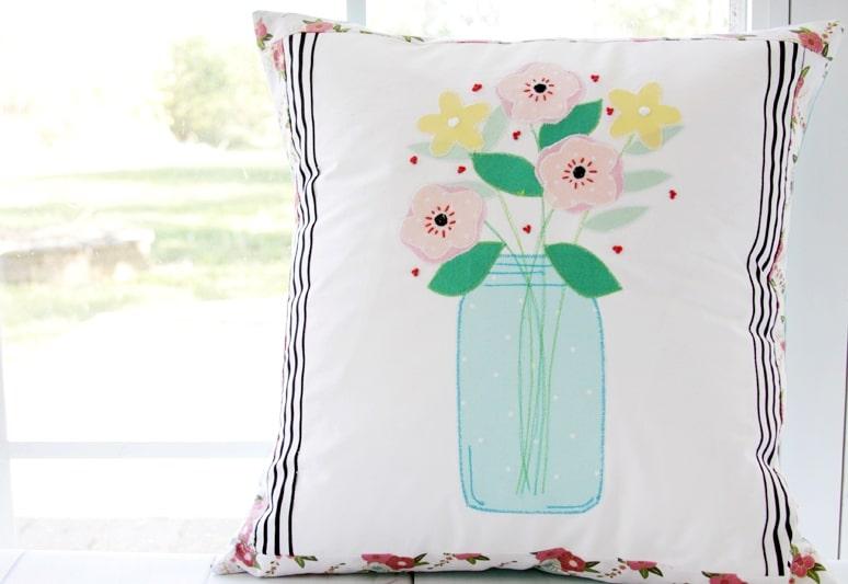 Mason Jar Flower Vase Pillow summer room decor idea