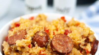 Image of sausage jambalaya in a white bowl