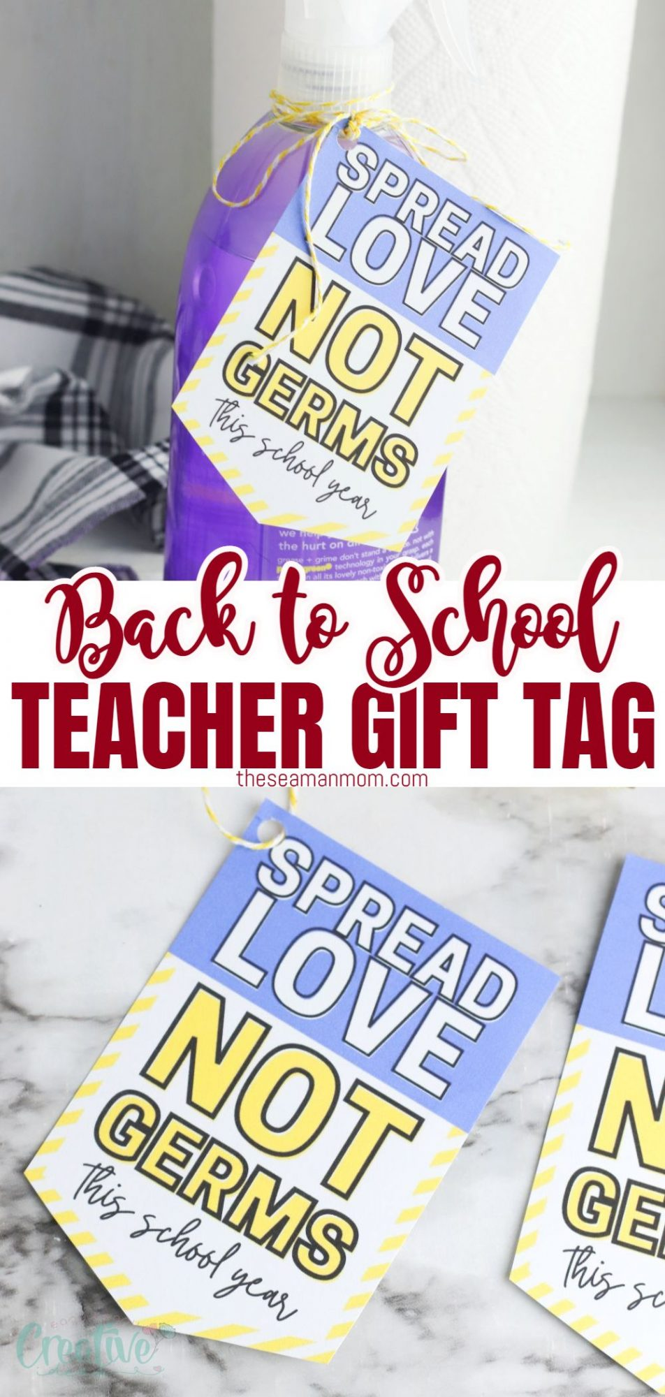 Photo collage featuring a teacher appreciation tag for cleaning supplies gifts