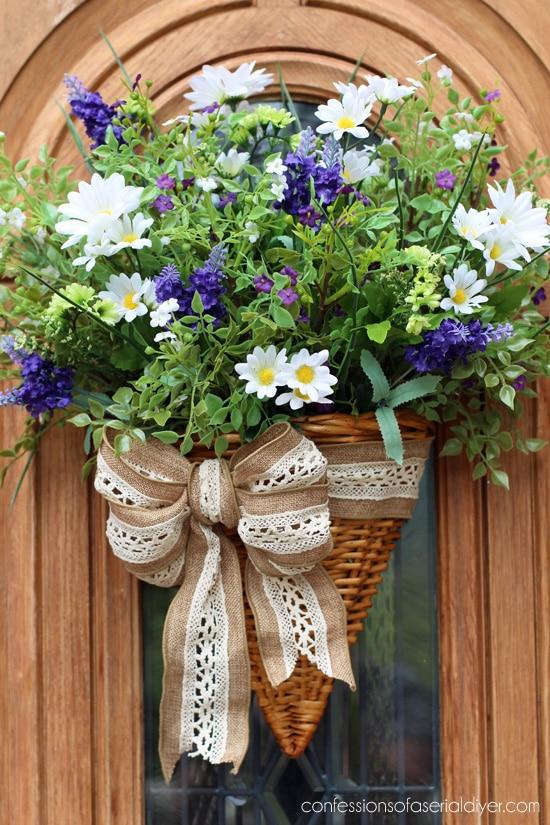 Wildflower Door Basket summer door decor