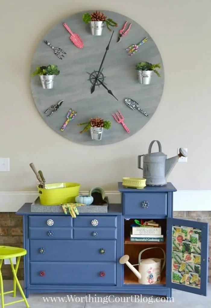 Faux Garden Clock wall decor