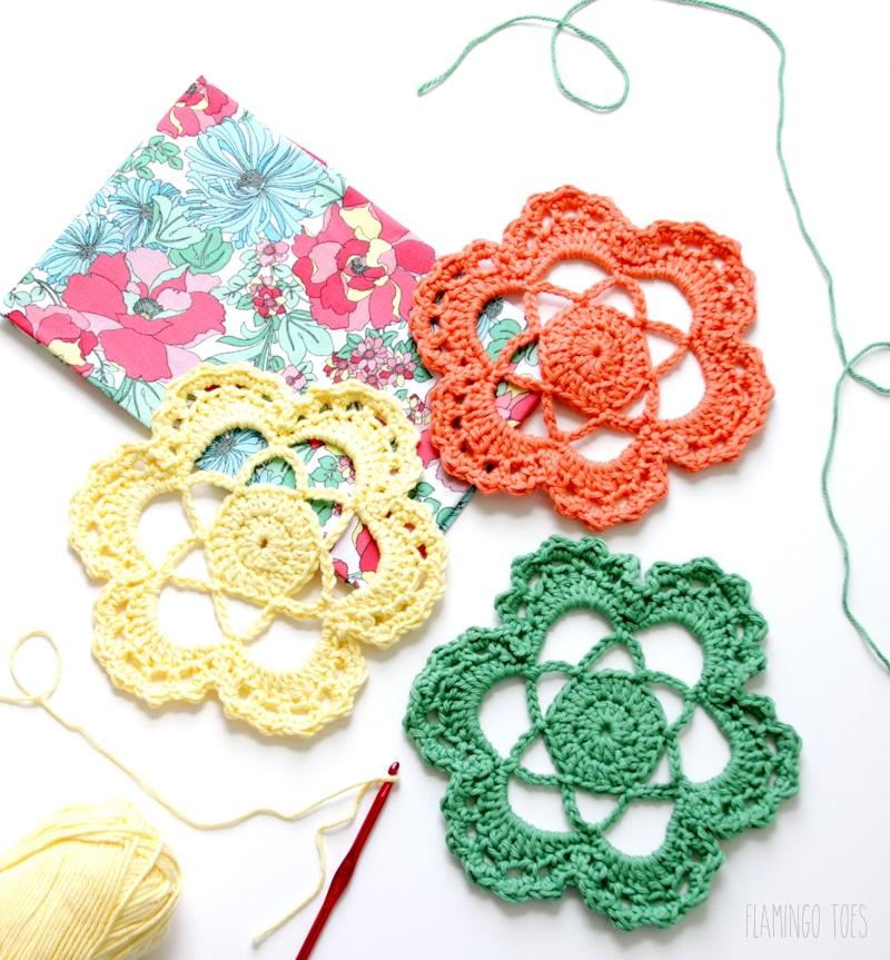 Crochet doily flower craft