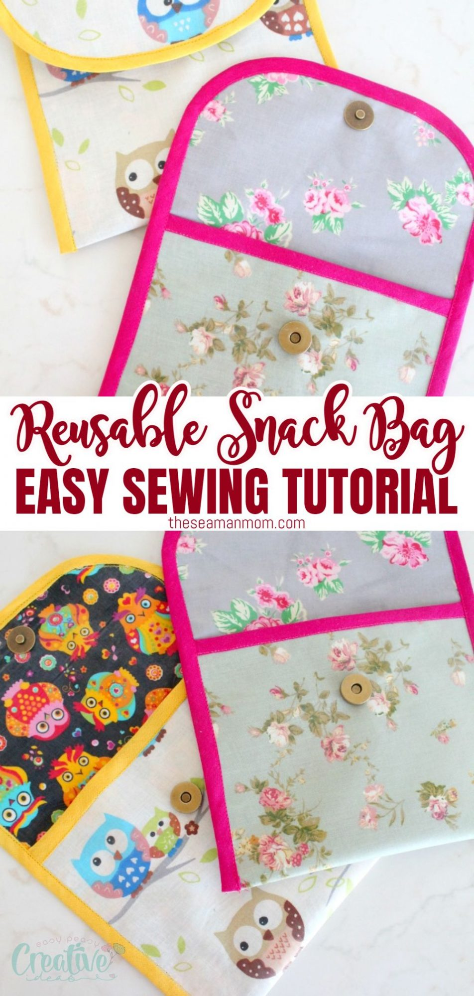 Photo collage of DIY reusable snack bags with magnetic snaps, sewn with waterproof fabric
