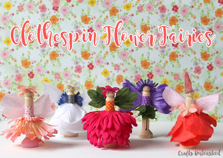 Fairy flower crafts made with clothespins