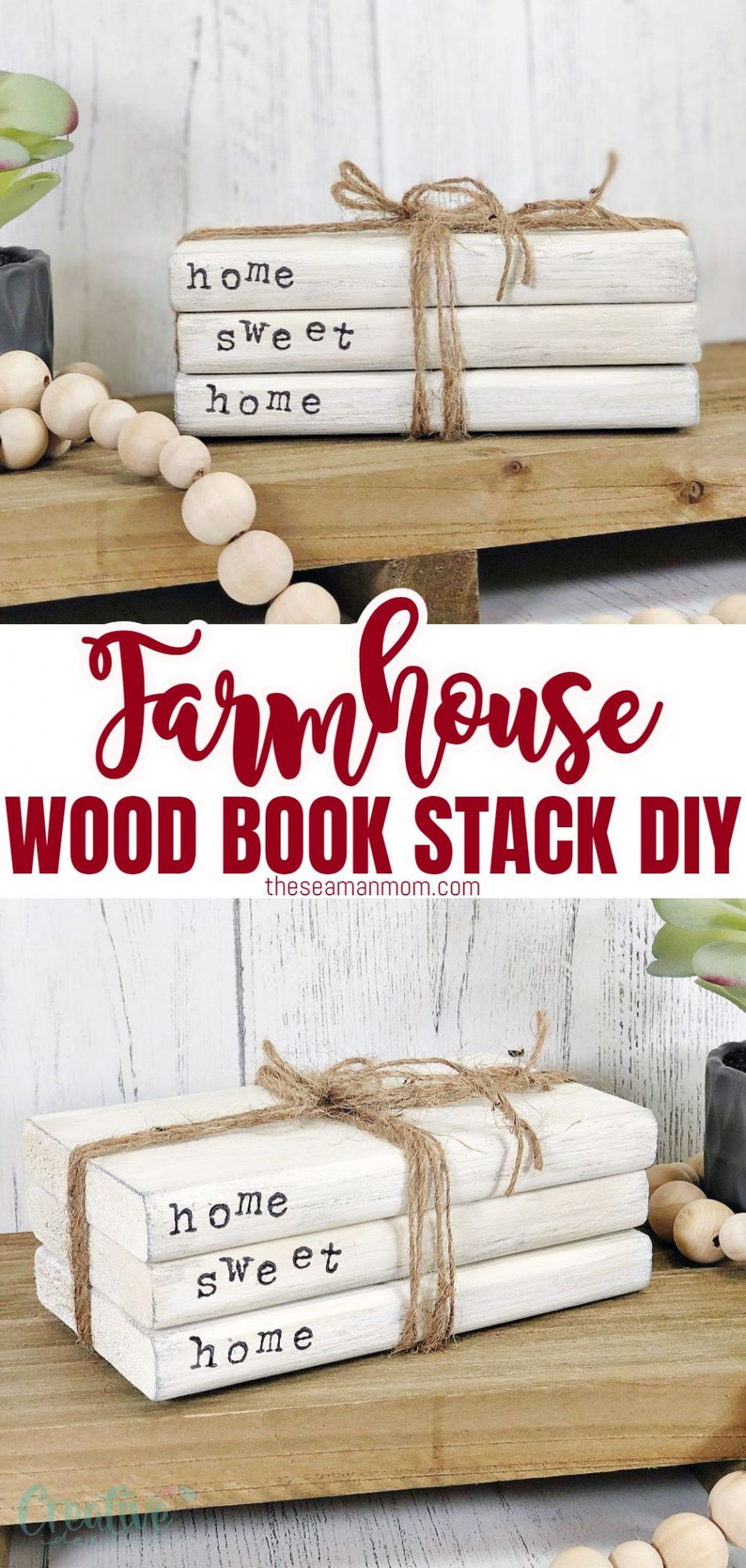 Photo collage of farmhouse book stack made with wood and stamped letters