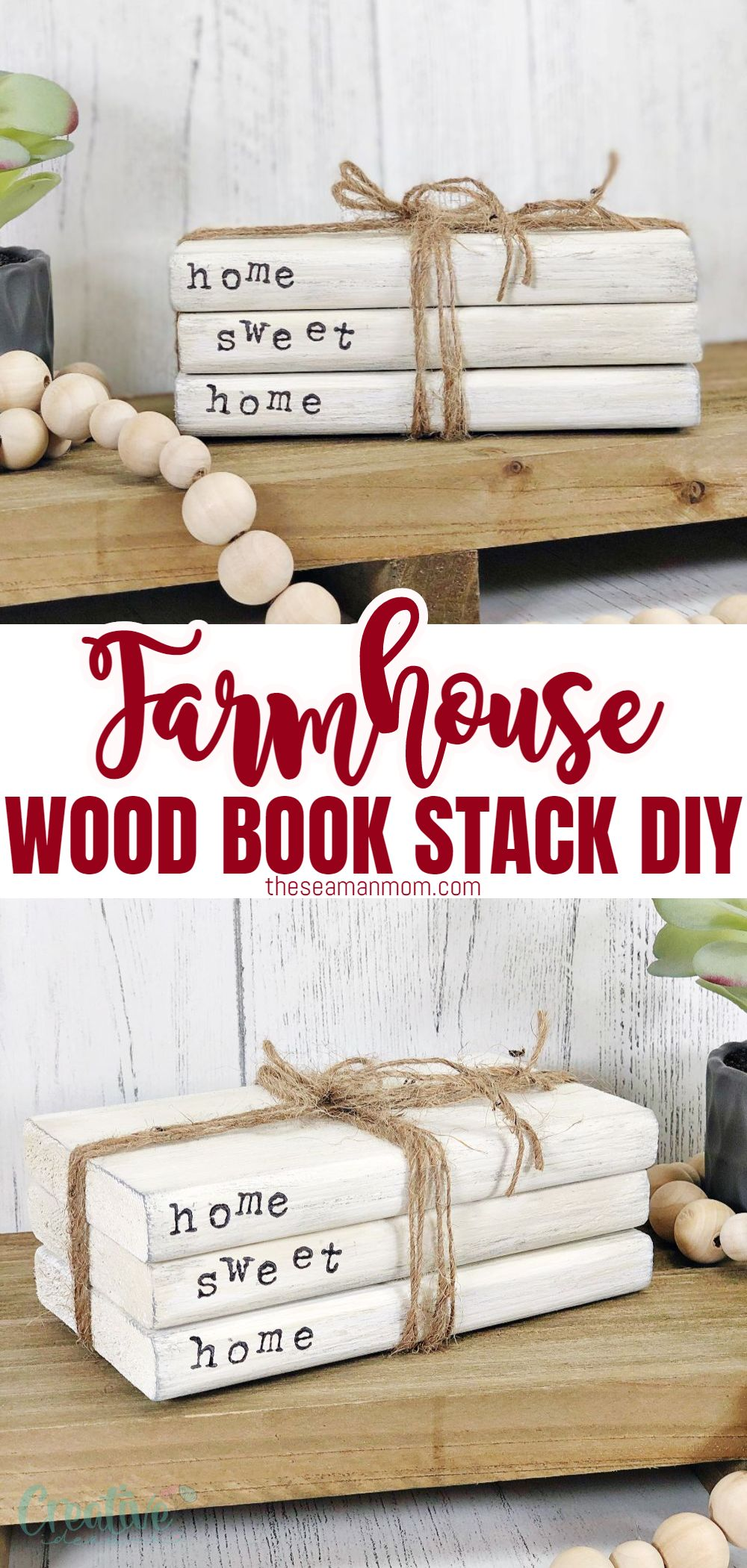 Do you love the look of a mini stack of books on your coffee table? Create an easy DIY farmhouse book stack using scrap paper, glue, and paint. This craft is perfect for kids who want to learn how to make something with their hands or just as a quick way to spruce up your living space! via @petroneagu