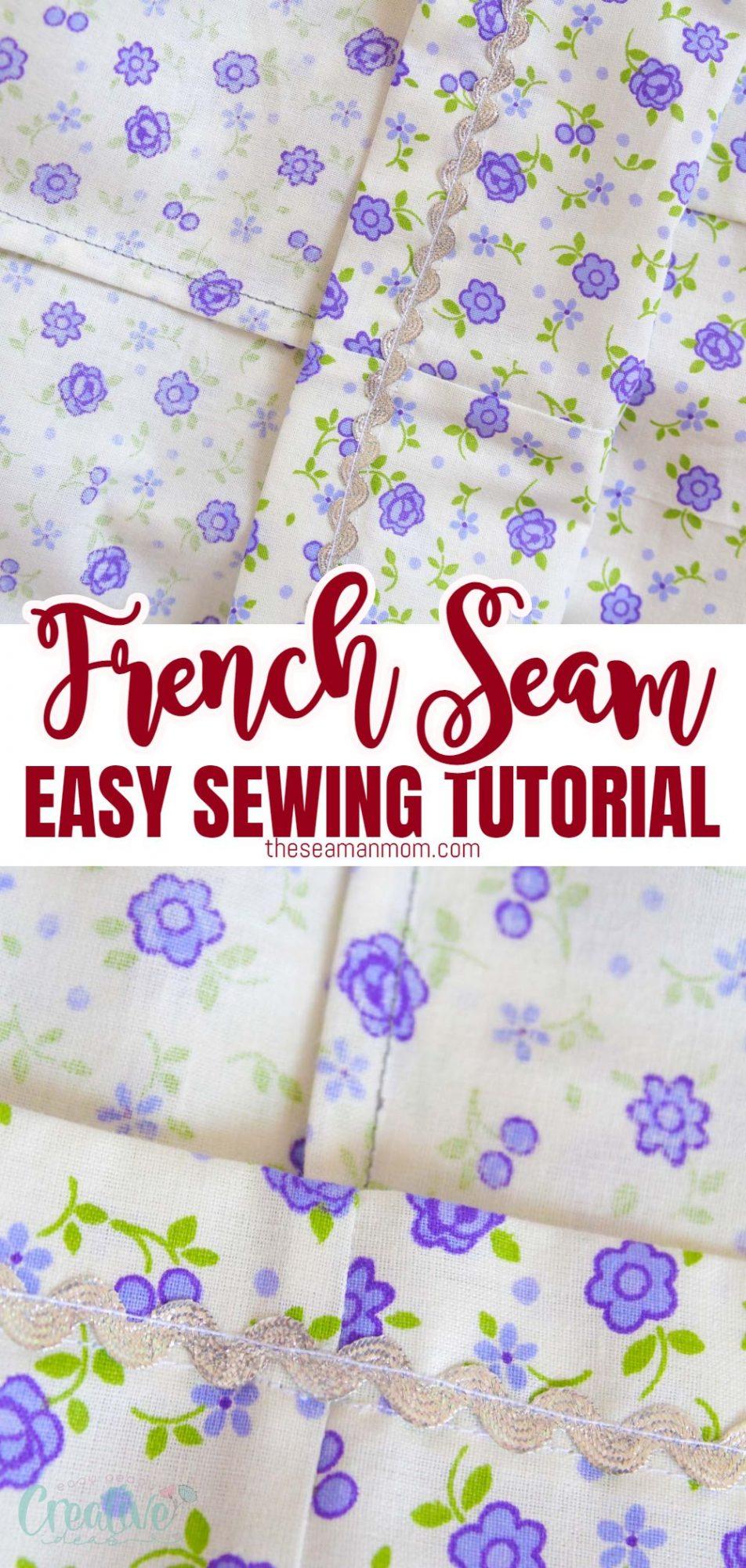 Photo collage of French seam technique