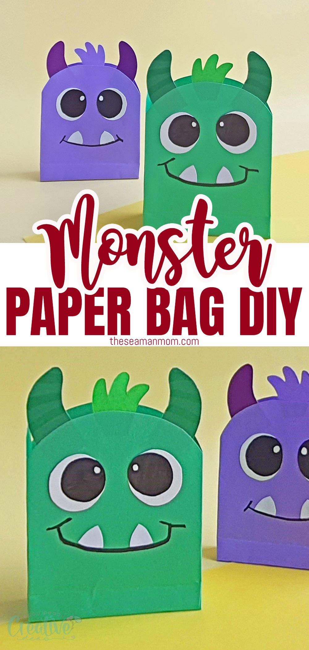 These monster Halloween paper bags are just the perfect thing for some Halloween fun! They are simple enough that your children can help create them, and you can make a fair few in a short time! via @petroneagu