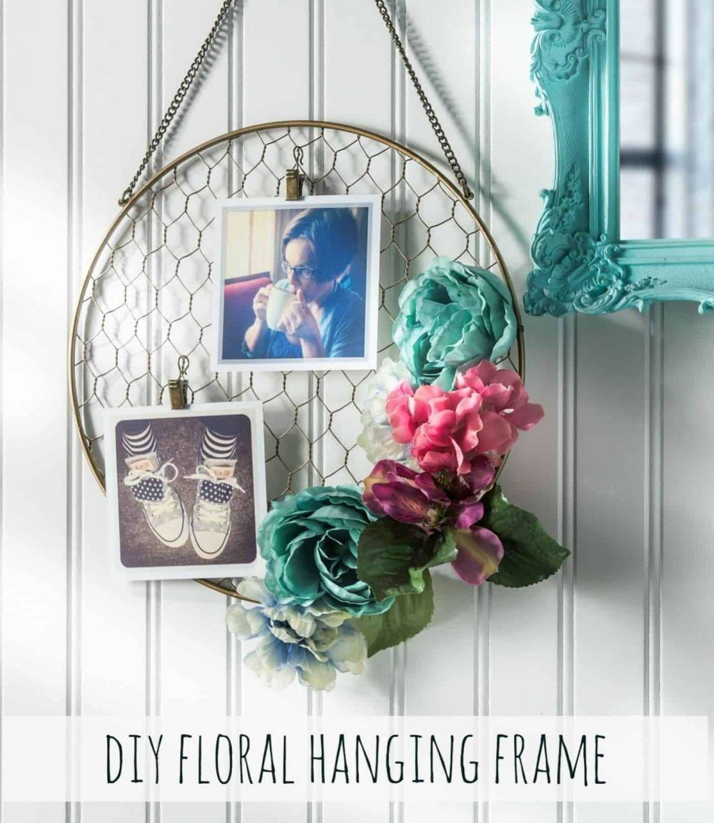 Hanging frame DIY flower decor