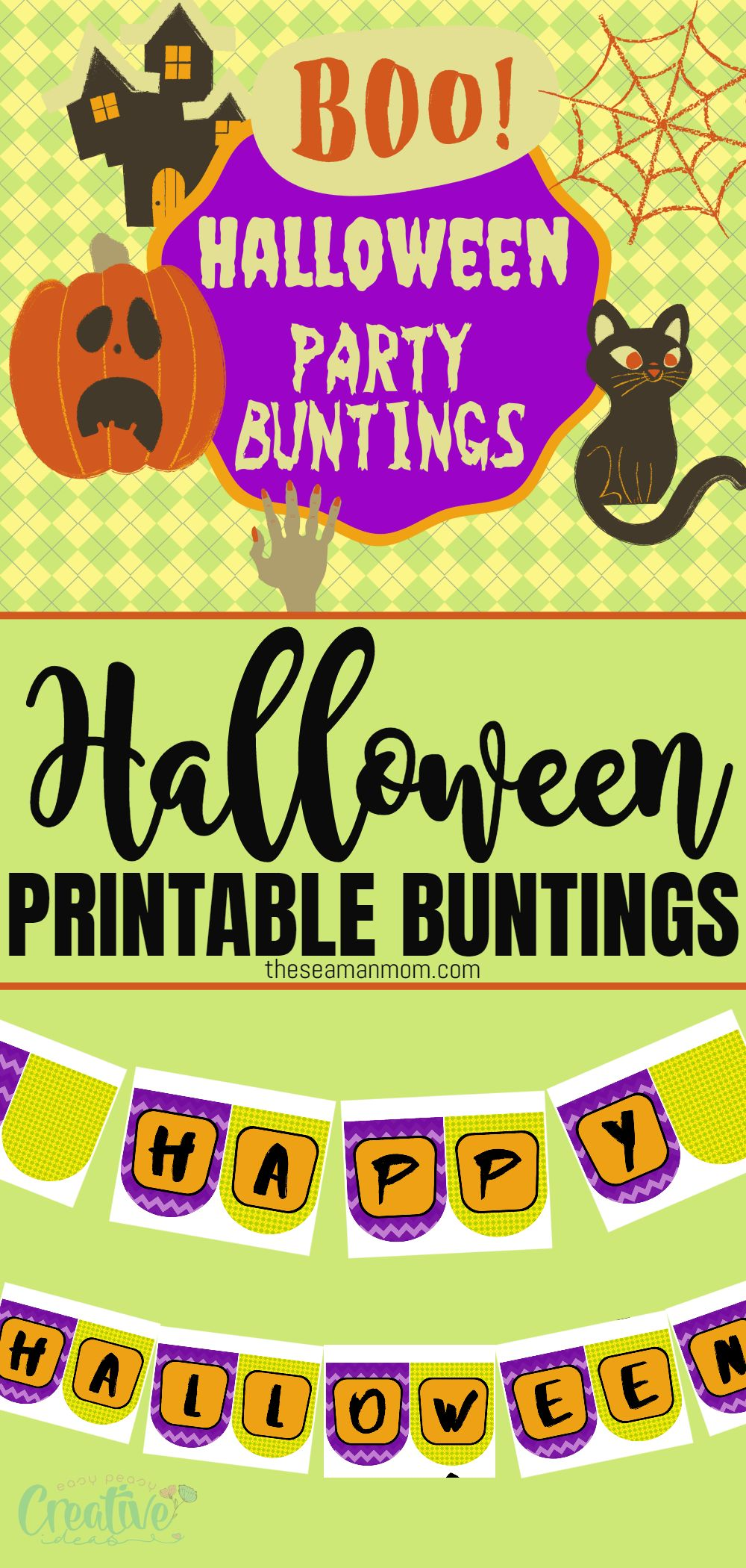 This adorable printable Happy Halloween banner is a fun craft project to put together as you prepare your home for the Halloween holiday! via @petroneagu