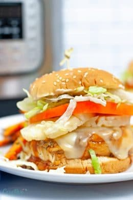 Image of Instant Pot burger made with teriyaki chicken