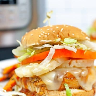 Chicken burger with INSTANT POT TERIYAKI CHICKEN