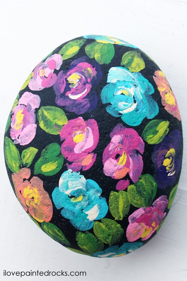 Painted rock flower craft