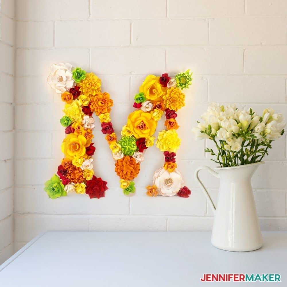 Paper flower monogram