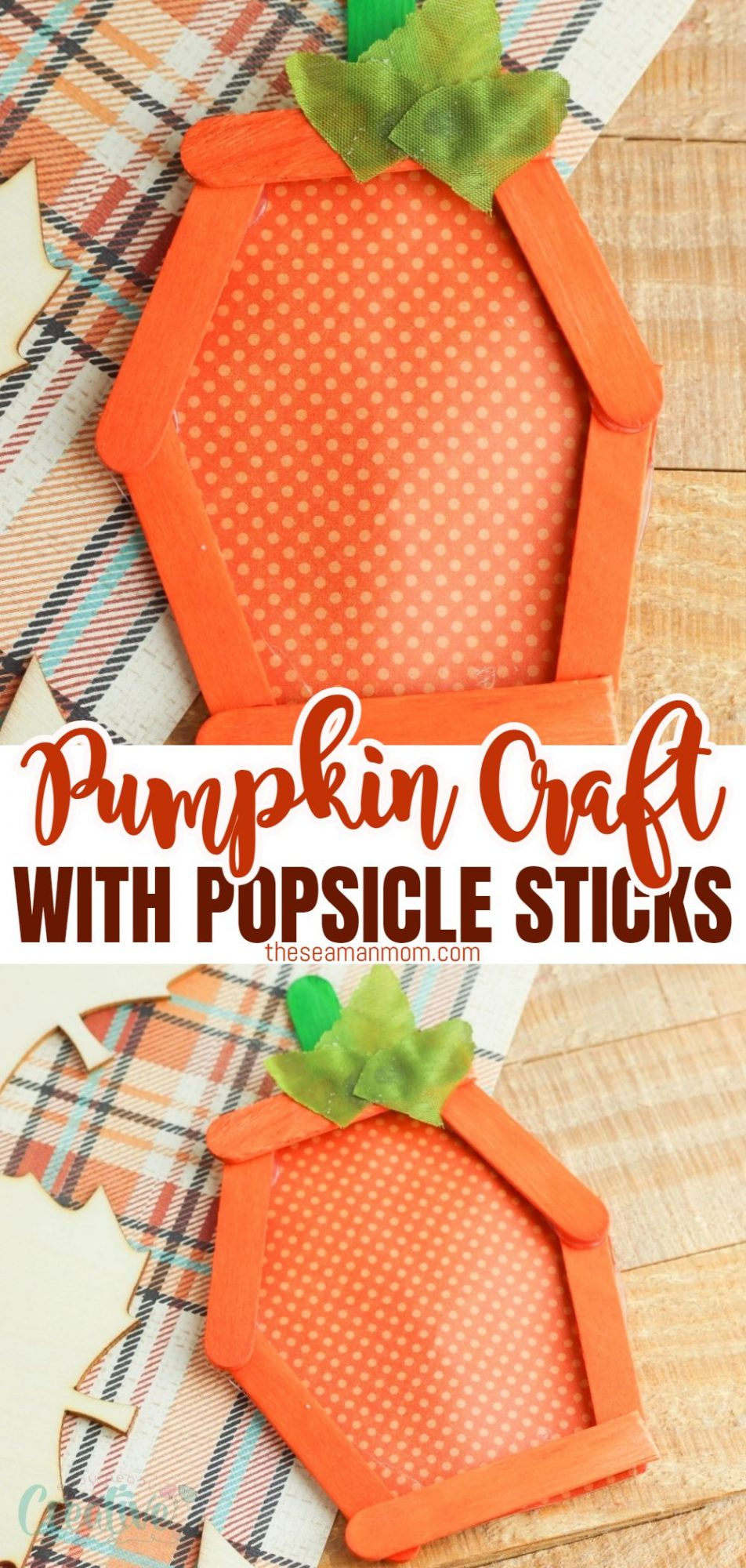 Photo collage of fall pumpkin craft made with popsicle sticks and paper