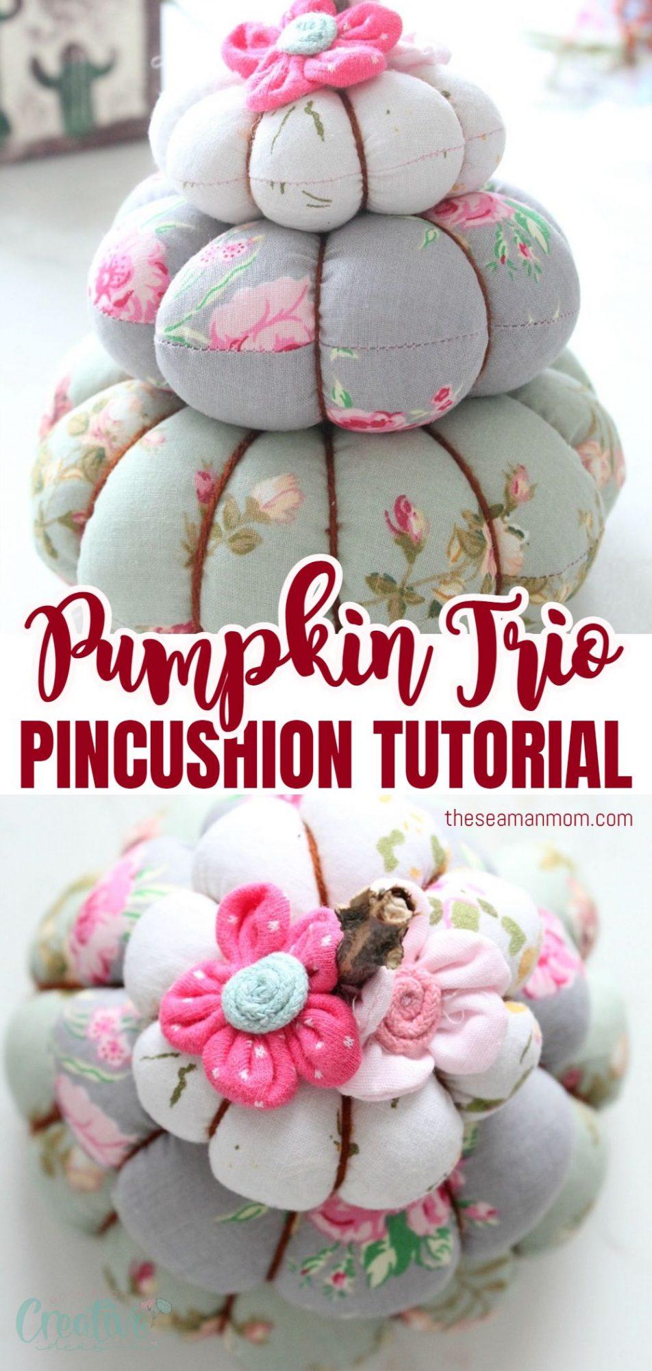 Photo collage of pumpkin pincushion made from three stacks of handmade fabric pumpkins