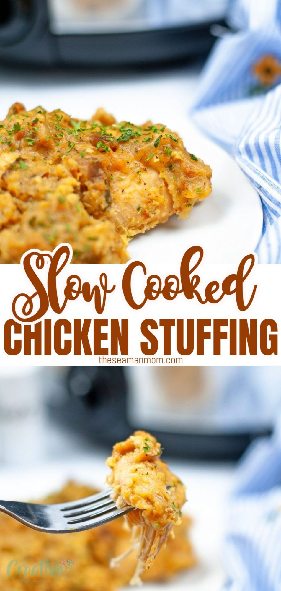 Photo collage of chicken and stuffing casserole