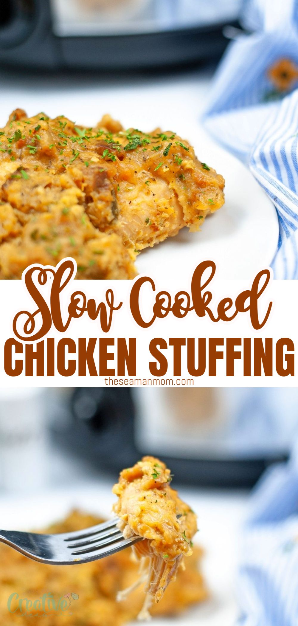With the help of this easy slow cooker chicken and stuffing casserole, you can prepare a delicious homecooked meal for your family with just a few minutes of prep work! via @petroneagu