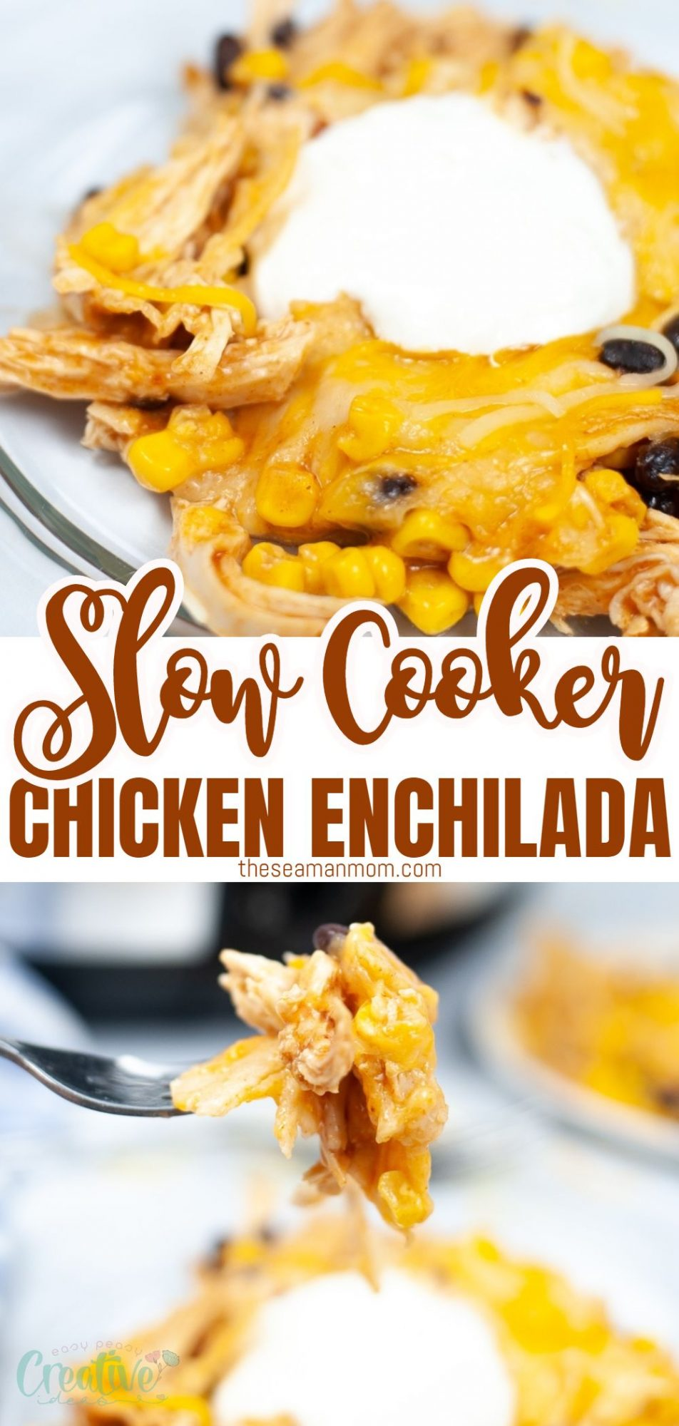 Photo collage of slow cooker chicken enchilada