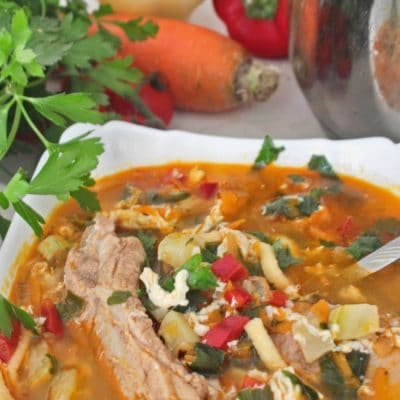PORK RIB SOUP with vegetables and noodles