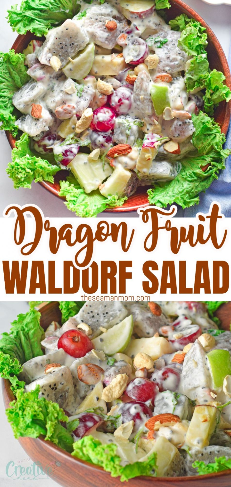 Photo collage of Waldorf salad recipe, on a lettuce bed in a brown bowl