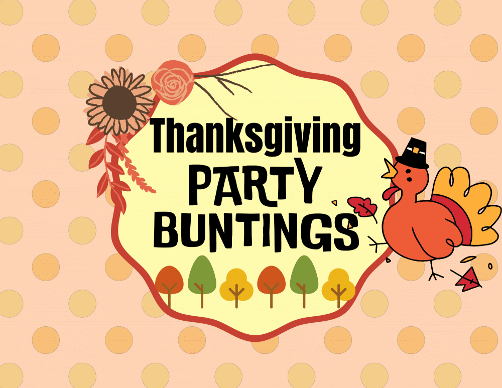 Image of the front page of a printable PDF file for a Happy Thanksgiving banner