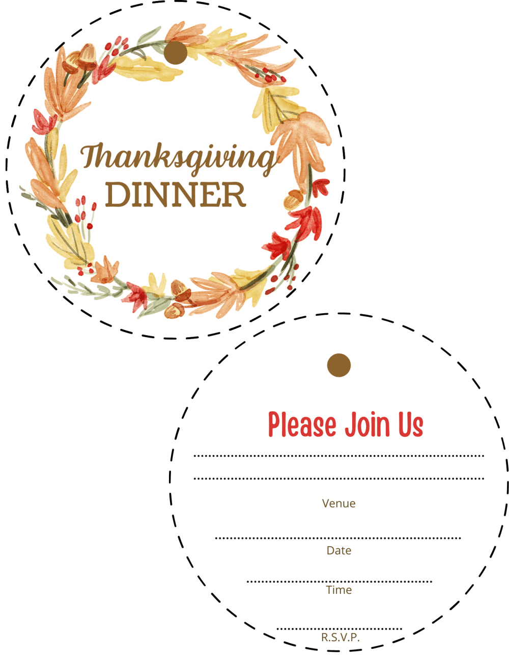 Image of back and front pages of Thanksgiving dinner invitations printable