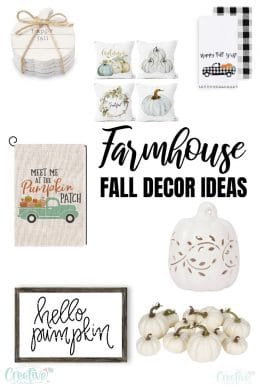 Photo collage of farmhouse fall décor ideas to add to your home