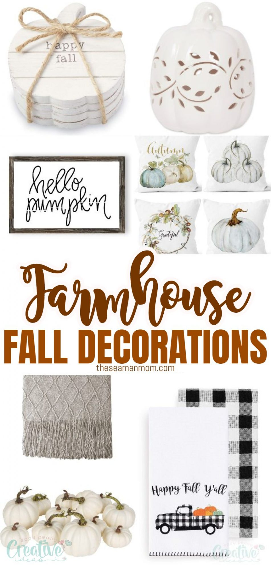 Photo collage featuring farmhouse fall decorations to add to your home decor