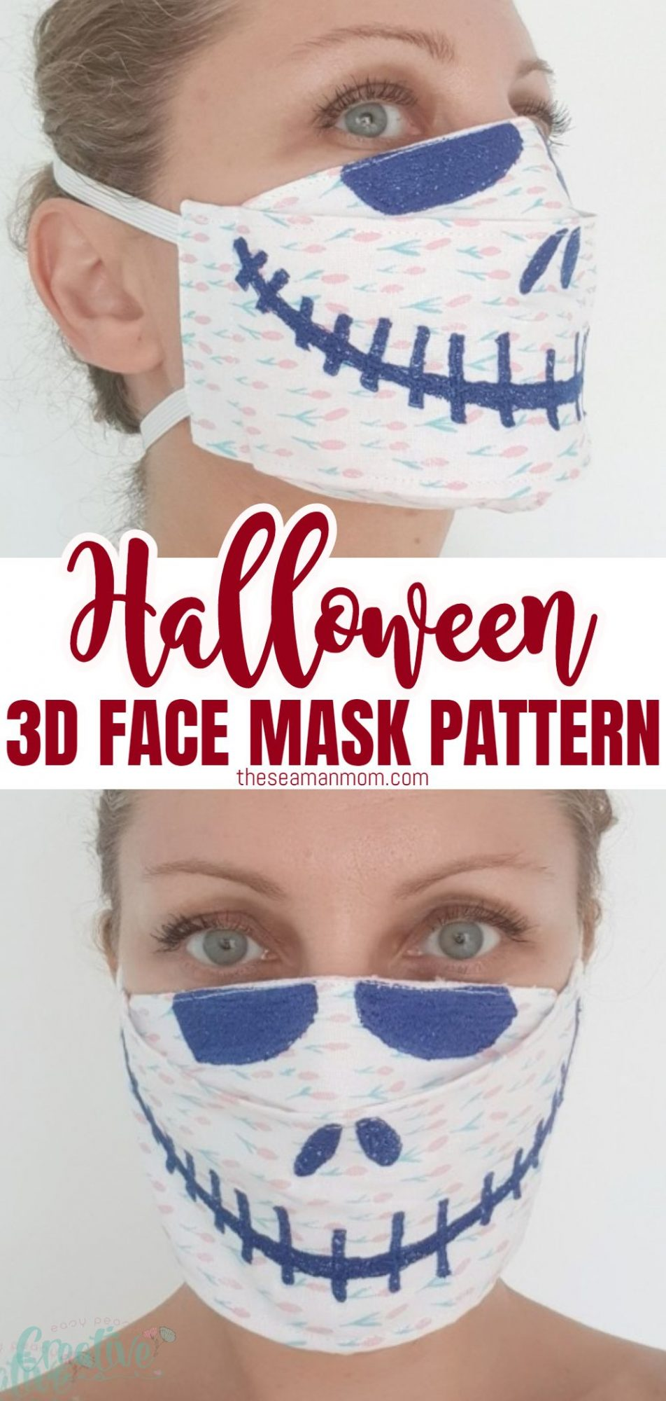 Photo collage of HALLOWEEN 3D FACE MASK pattern with Skellington embroidery, front and side view.