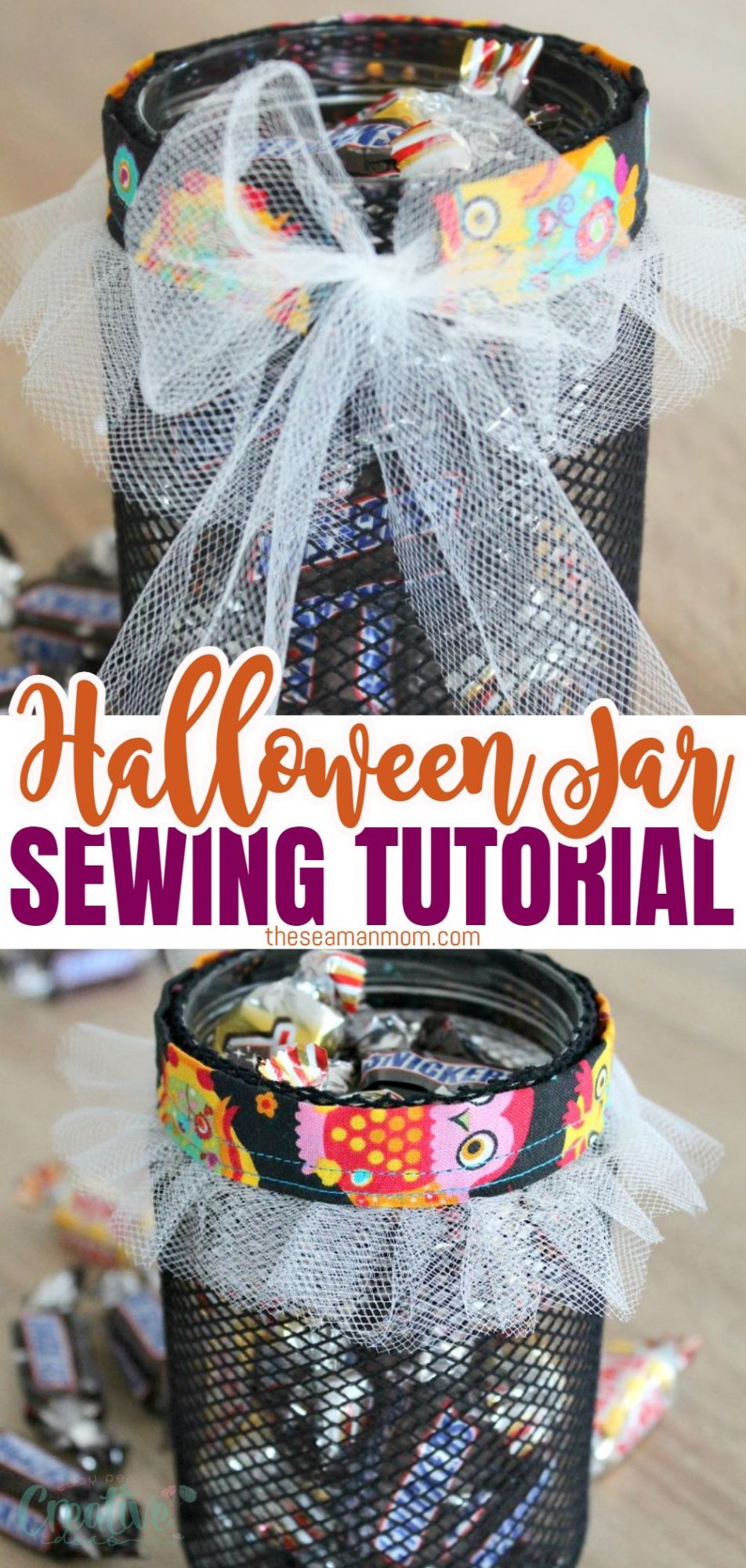 Photo collage of DIY Halloween jar for treats, viewed from the front and the back. This treat jar is covered in fishnet stocking and has a sewn ruffled sleeve at the top.