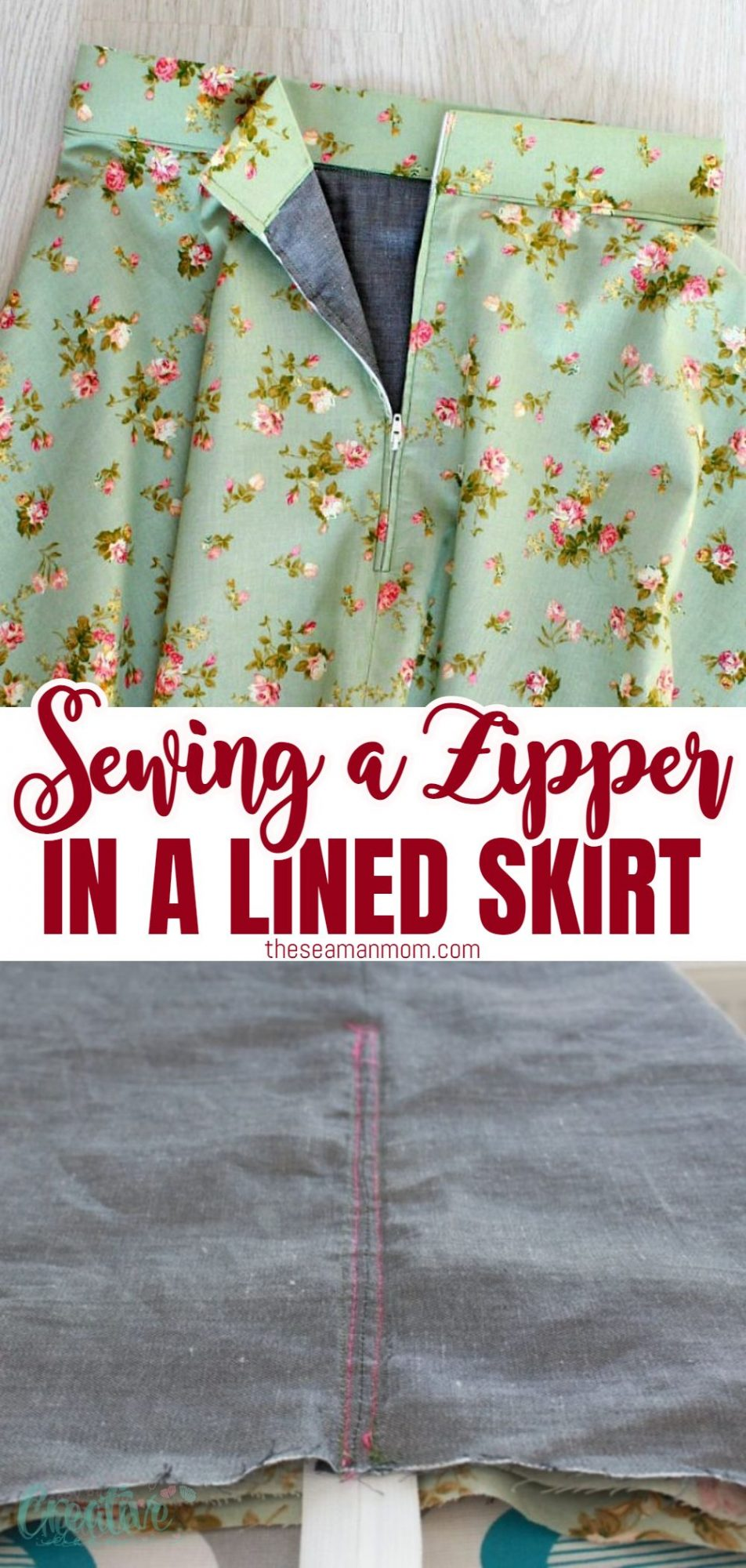 Hw to sew a zipper on a skirt with lining