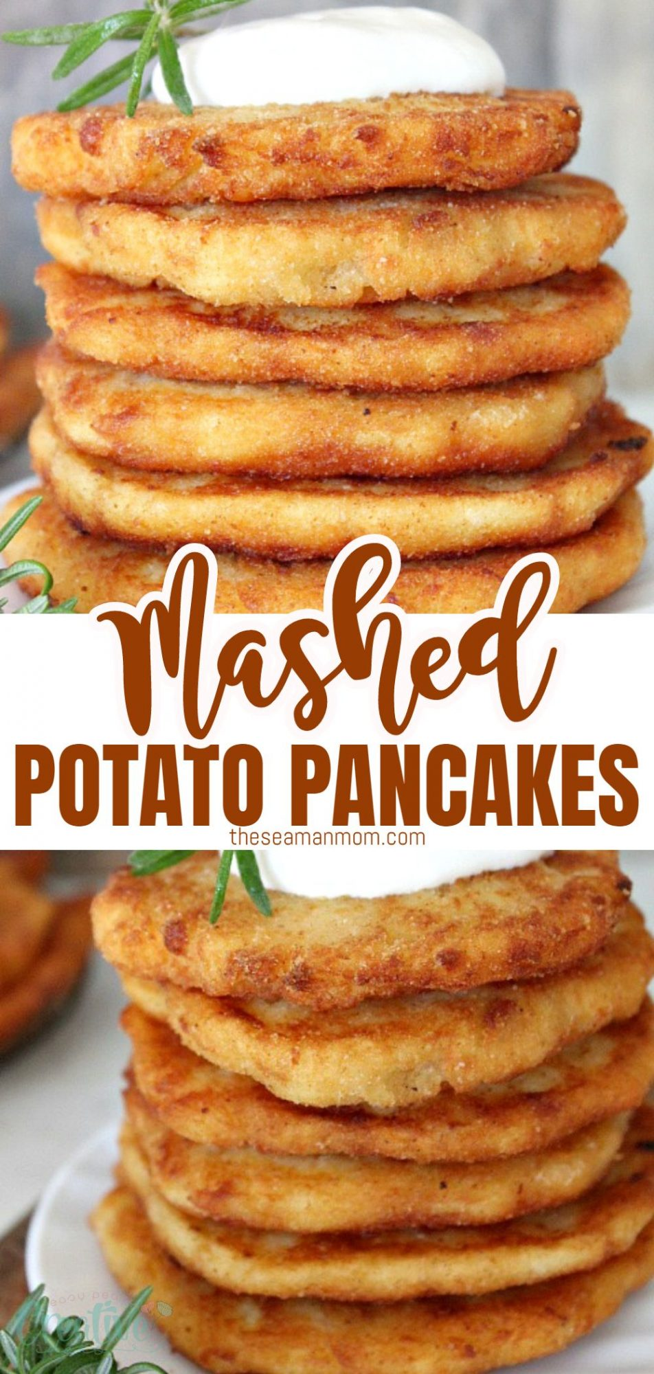 Photo collage of a stack of mashed potato pancakes