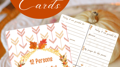 Printable Thanksgiving cards for 12 people I am grateful for