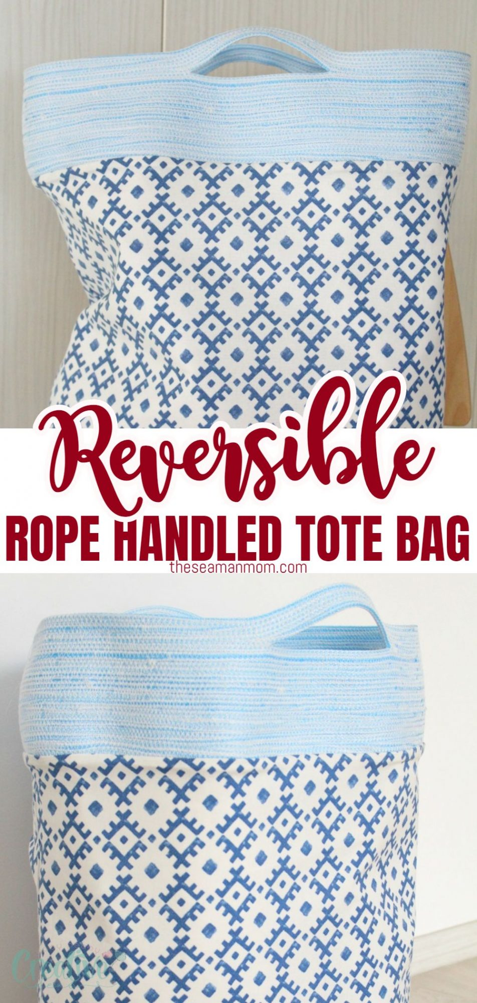 Photo collage of a reversible tote bag with rope handles viewed from the front and the side.