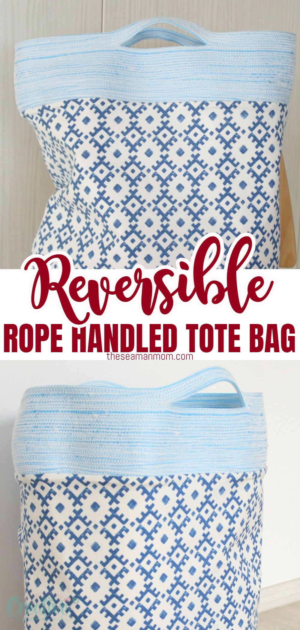 Make a practical and pretty reversible tote bag that will soon become your favorite with this easy rope handle tote bag tutorial. Great project for beginners and a wonderful gift for friends and family! via @petroneagu
