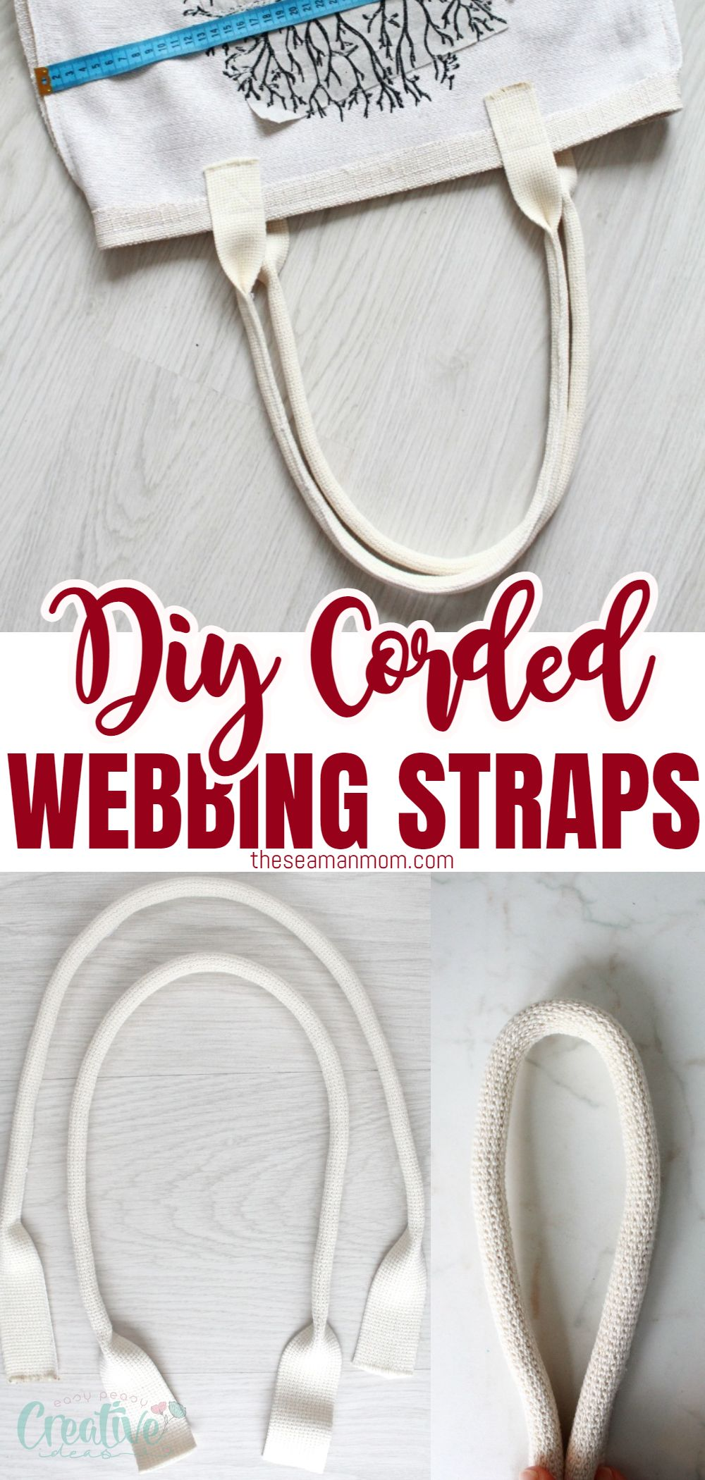 Handles are one of the most important features in a bag! In this simple and quick tutorial you'll learn the easiest method to make corded webbing straps for bags! via @petroneagu