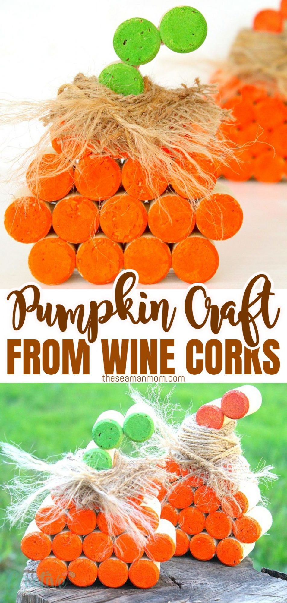 Photo collage of wine cork pumpkins, photographed indoors on white backdrop and outdoors in the garden