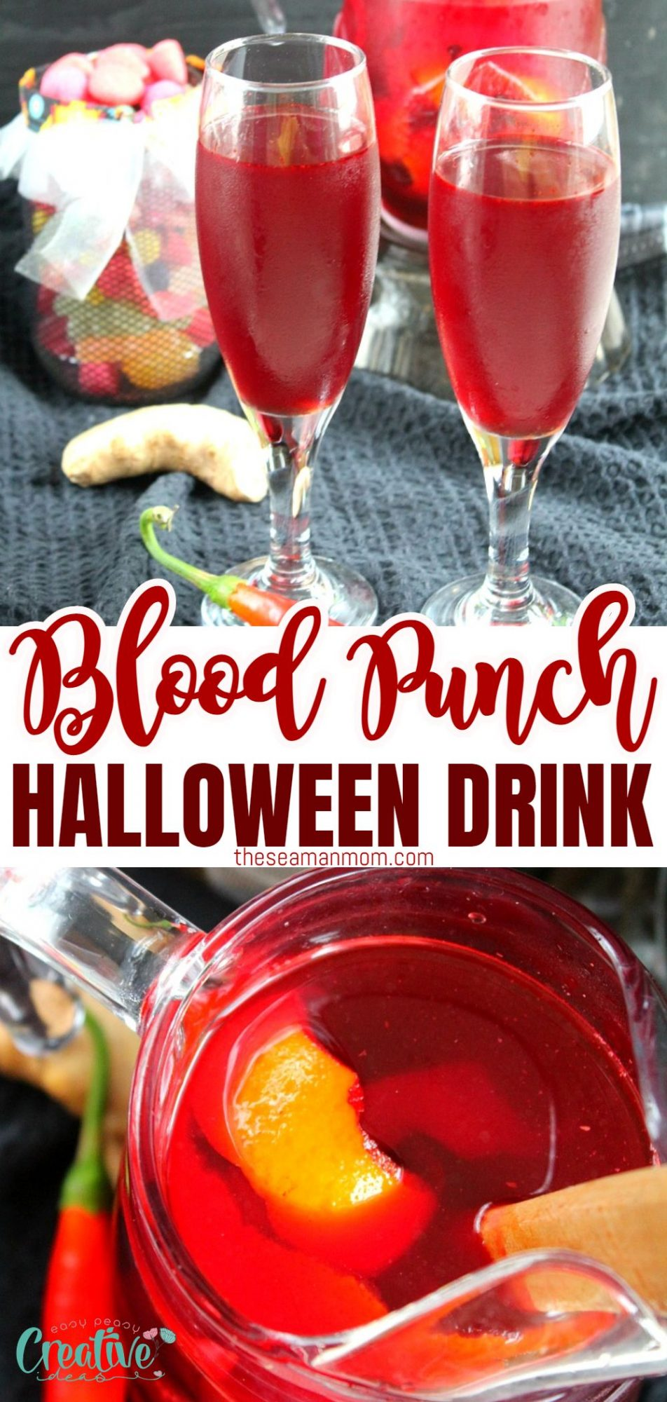 Photo collage of Dracula's blood punch, non alcoholic Halloween drink in Champagne flutes and in a pitcher