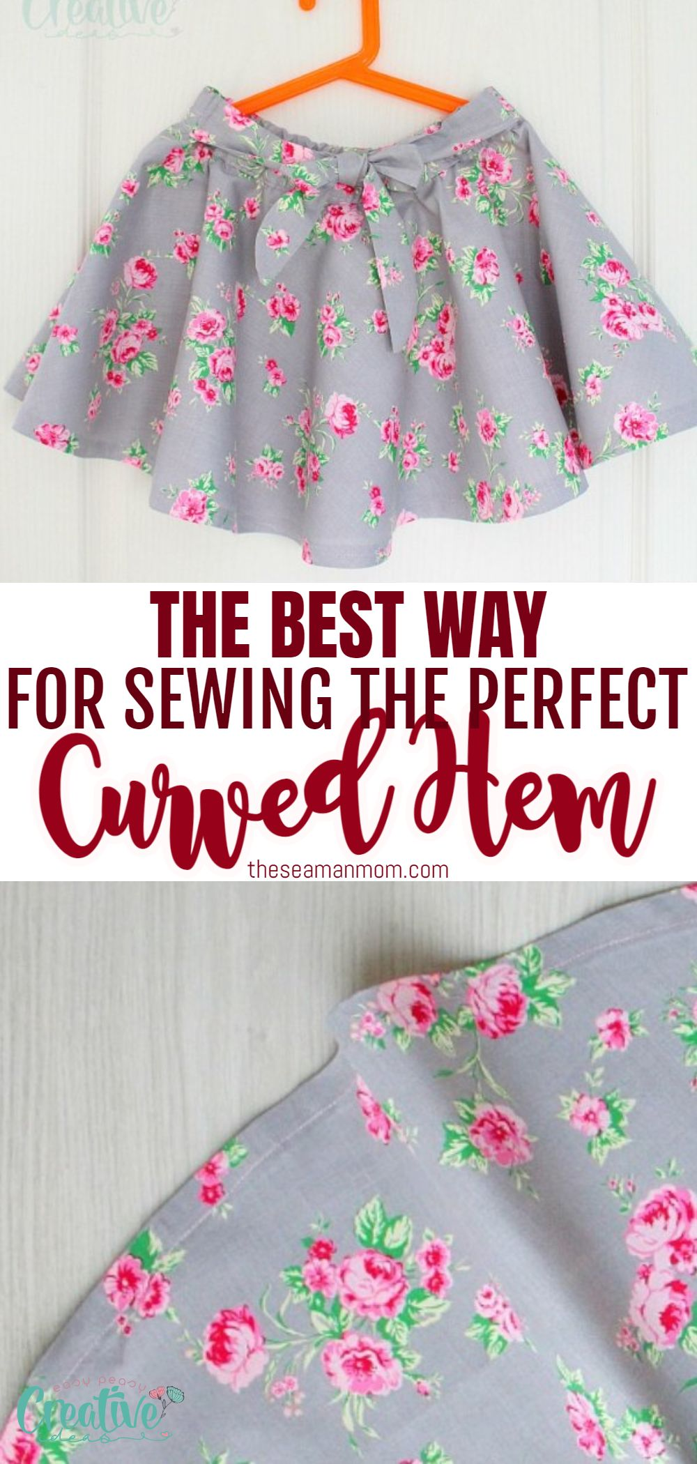 When a straight hem just won't do, a curved hem can turn a plain skirt or a dress into a work of art! Learning how to make a curved hem comes in very handy, especially when making dresses or circle skirts. Here is an easy method that will give you a smooth, neat finish on any round hem. via @petroneagu