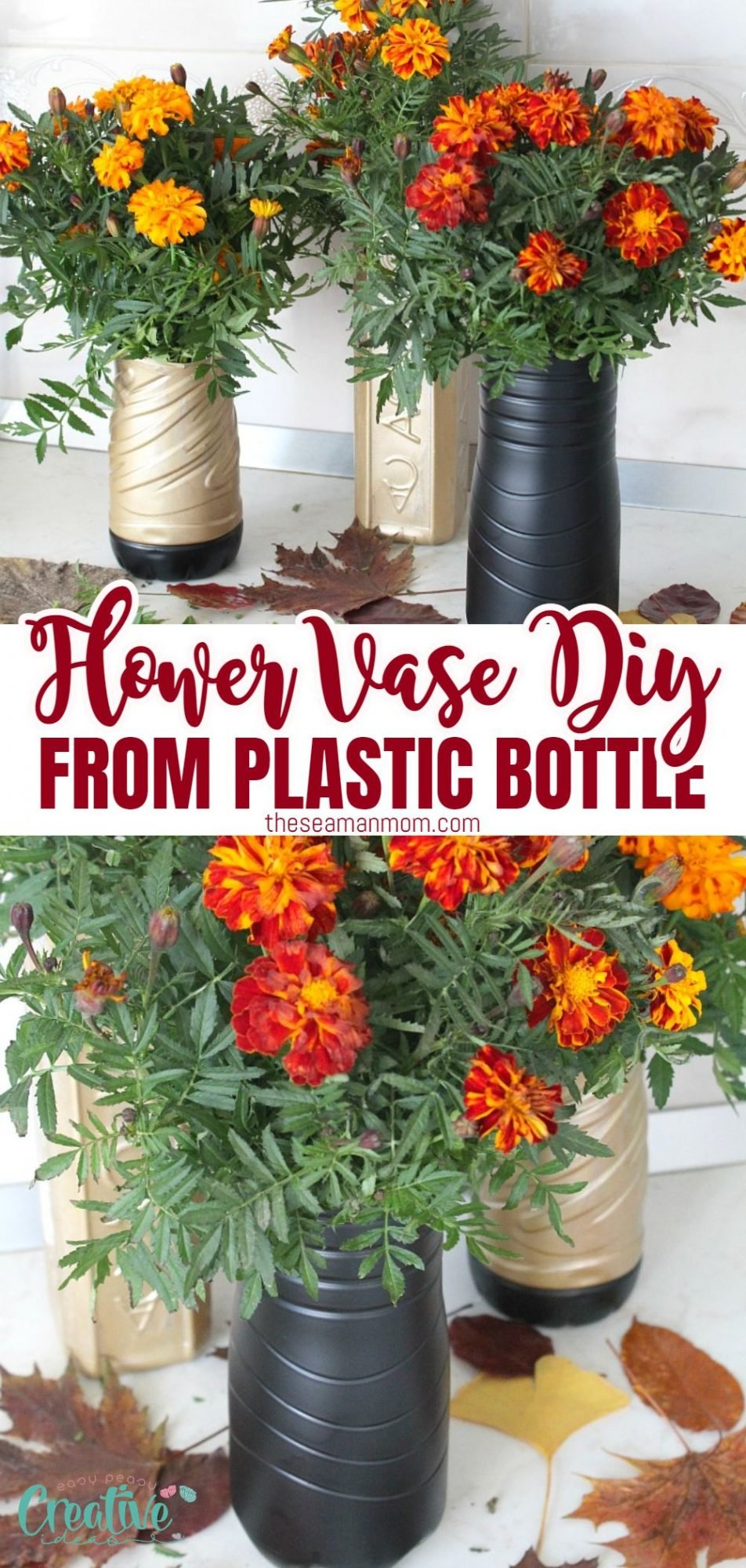 Photo collage of plastic flower vase made with recycled water bottles