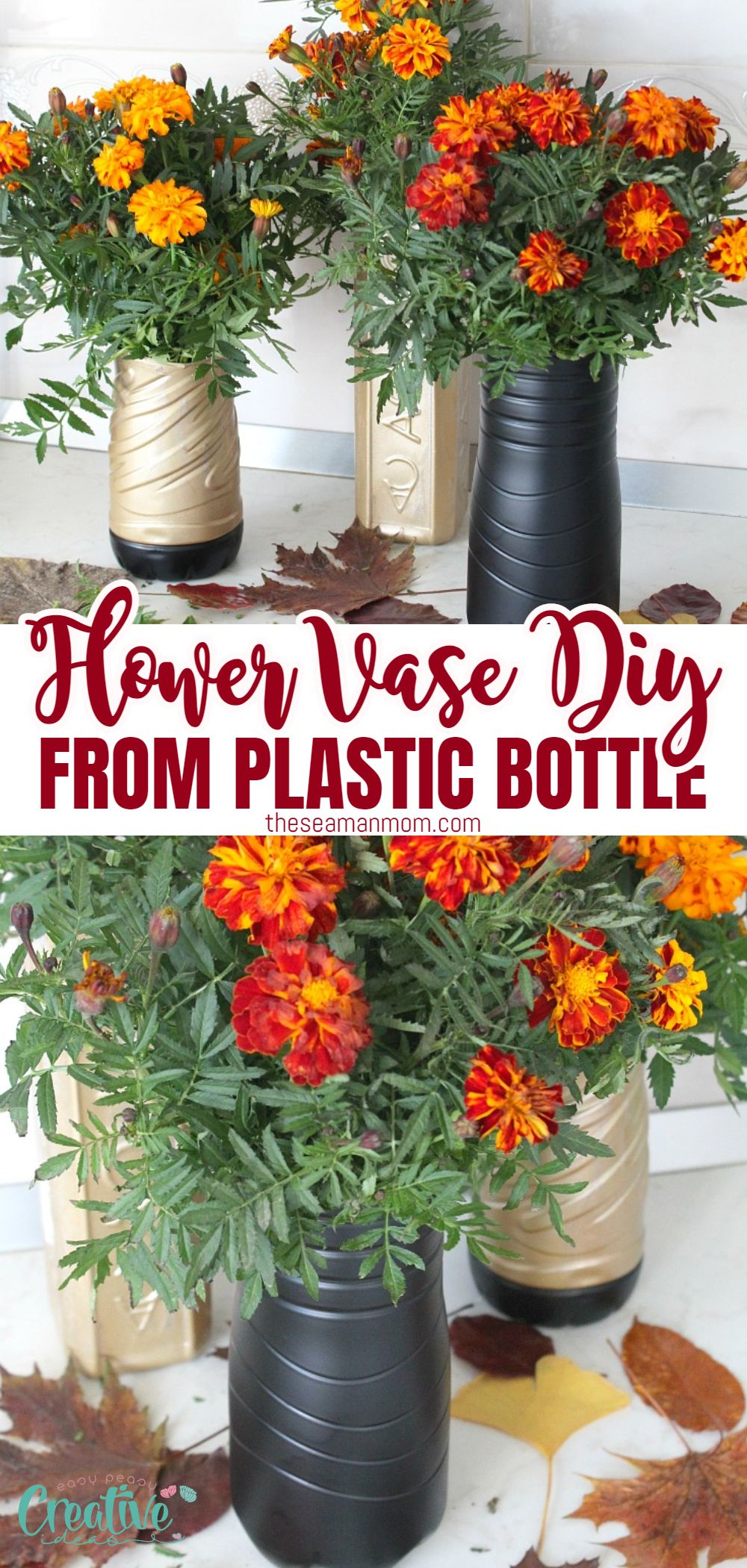 Make your own recycled vase using this super easy tutorial for a plastic flower vase from plastic bottle! If you didn't know better, you'd swear this handmade flower vase was made out of crystal or glass! via @petroneagu
